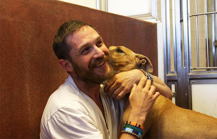 Tom Hardy with a dog