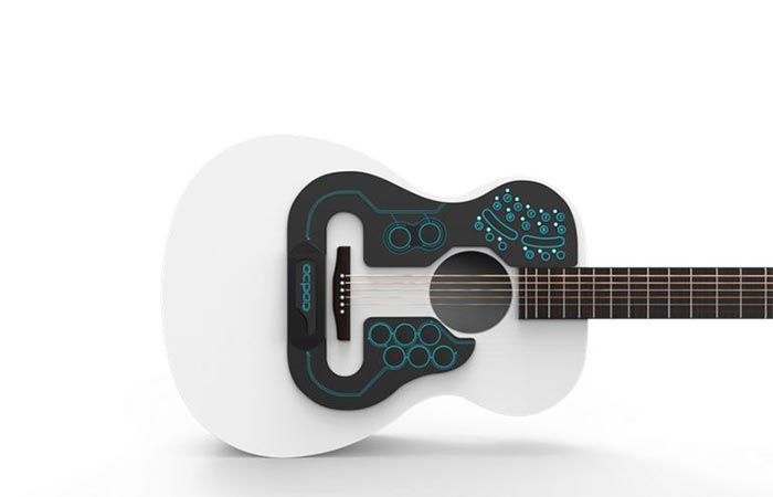 ACPAD Midi Controller On A White Acoustic Guitar