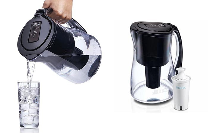 Pouring Water From Brita Infinity Smart Water Pitcher And A Filter Placed Next To The Pitcher