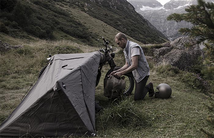 A Guy Setting Up Exposed Bivouac