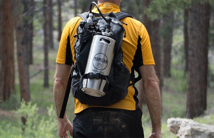 A Guy Wearing Mancan Personal Keg System