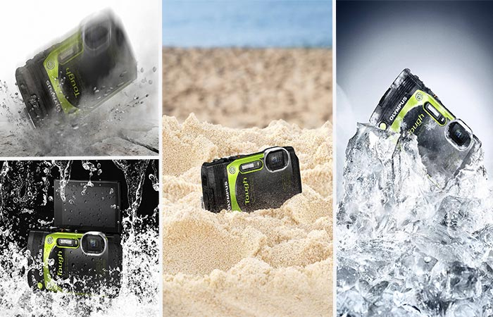 Olympus TG-870 Tough Waterproof Digital Camera In Water, Sand, Ice And Falling On A Surface