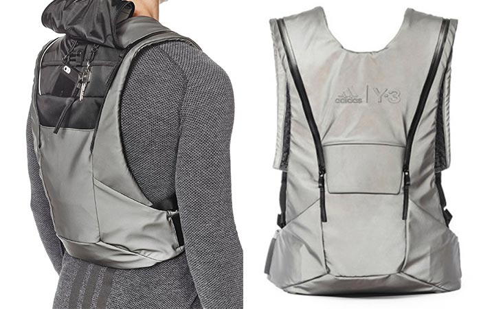 Man wearing Adidas Y-3 Sport Back and singular backpack showing style