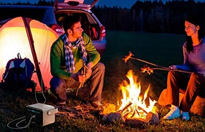 Anker Powerhouse being used to power lights while camping
