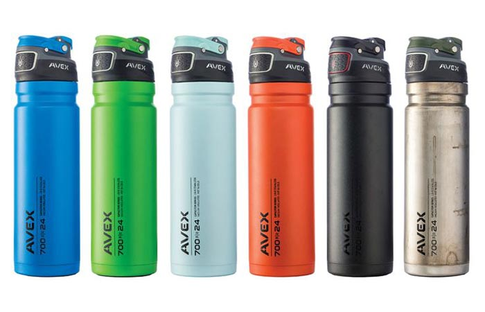 Six Different Colors Of Avex Freeflow Water Bottle