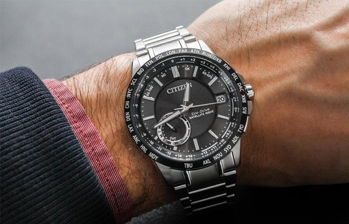 Citizen Satellite Wave World Time GPS Watch On A Wrist