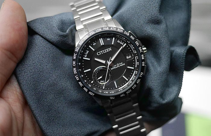 Citizen Satellite Wave World Time GPS Watch On A Cloth
