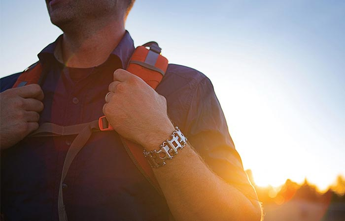 A Backpacker Wearing Leatherman Tread Bracelet