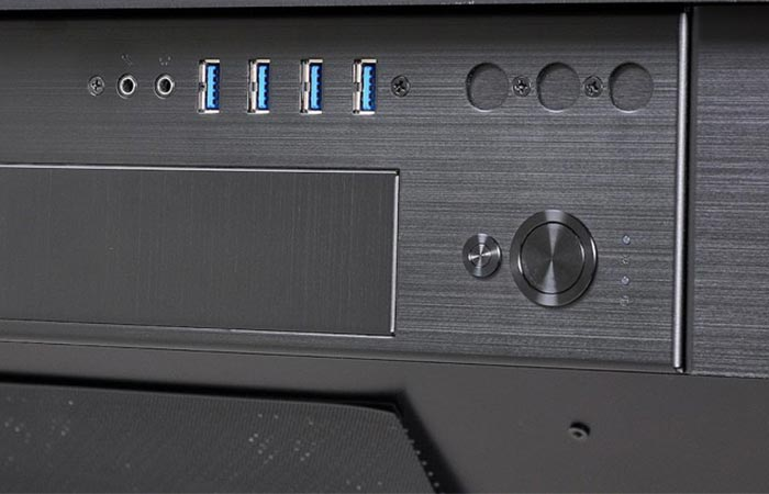 "Lian-Li DK-04 USB 3.0 ports, power button and section of the 5.25"" drive bay for an external"