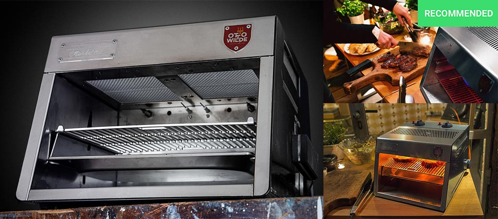 Otto's Over-fired broiler being used to cook steak and to show how the steak looks when it's finished