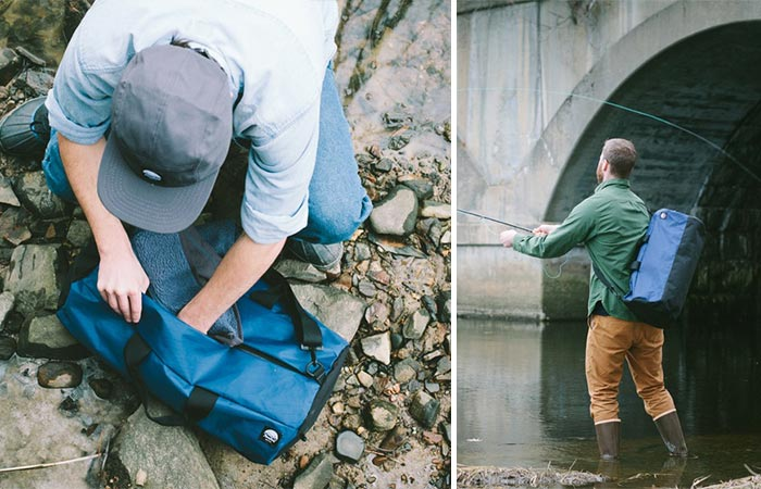 Two Images Of A Guy Using Blue Stormproof Duffle