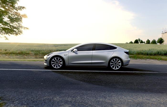 Grey Tesla Model 3 From The Side