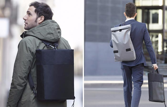 Two Images Of Guys Wearing The OWLBAG