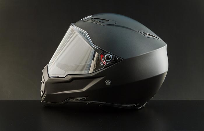 AGV AX-8 EVO Naked Helmet side view on grey background