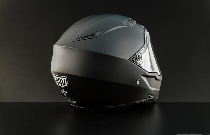 AGV AX-8 Evo Naked helmet back view on grey background