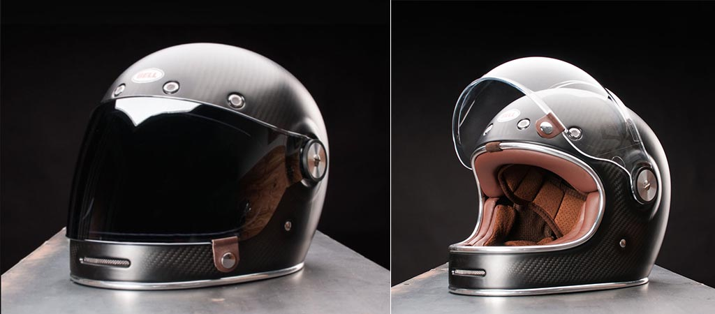 The latest Bell Bullitt Carbon Motorcycle helmet with the visor open and visor closed.
