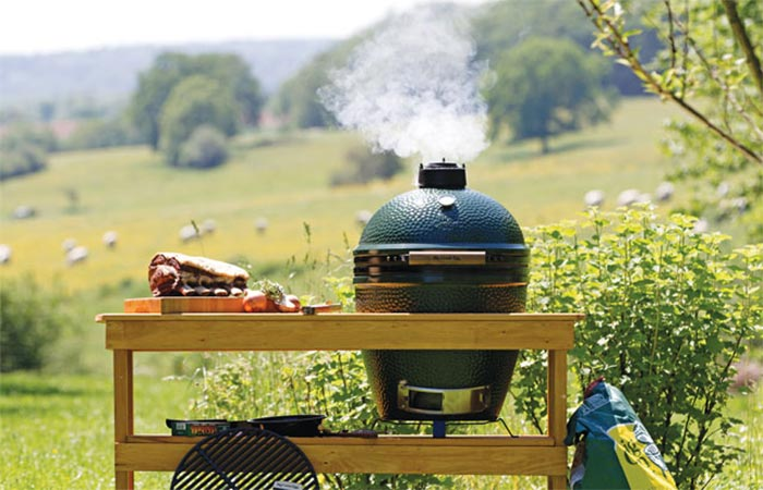 Big Green Egg Grill Outside