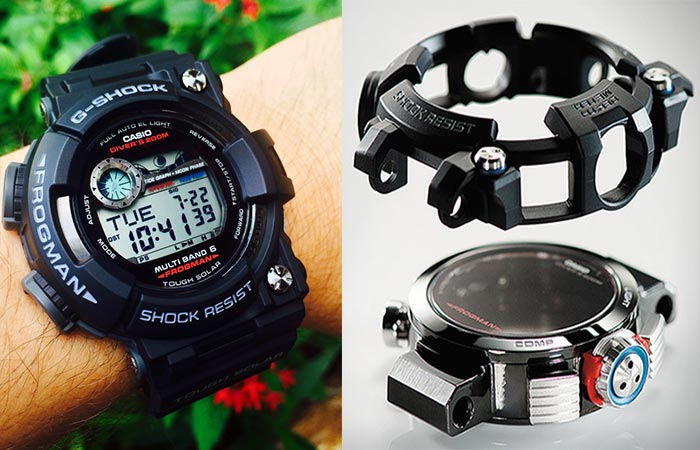 G-Shock Frogman being worn on wrist and a picture of the internals