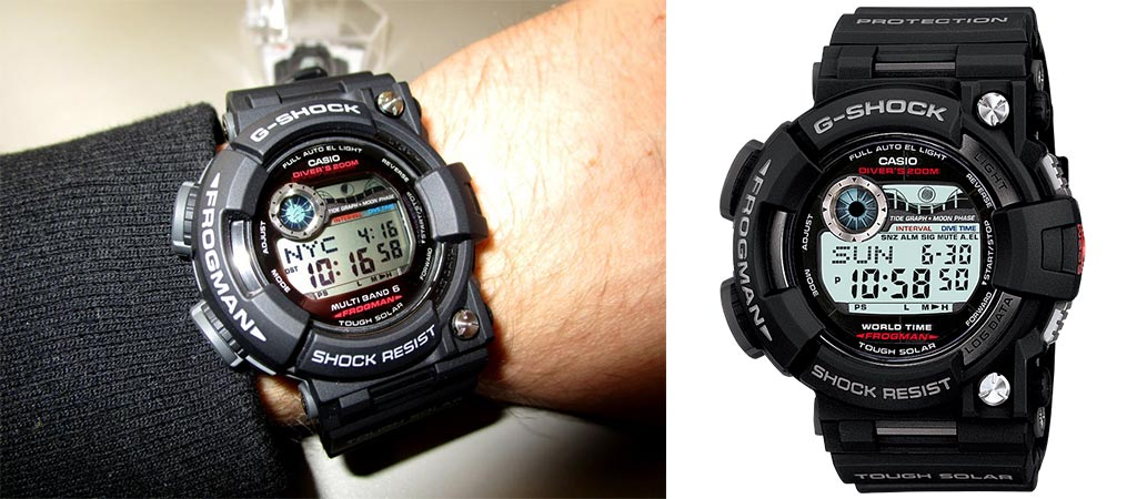 The Casio G-Shock Gf-1000-1DR being worn on wrist and with white background