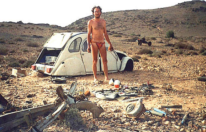 Emile Leray Next To His Broken Car In The Desert