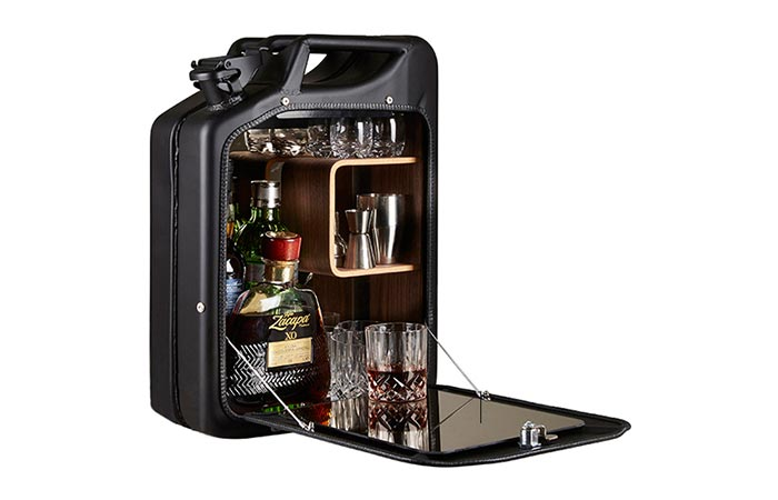 Black Jerry Can Bar Cabinet