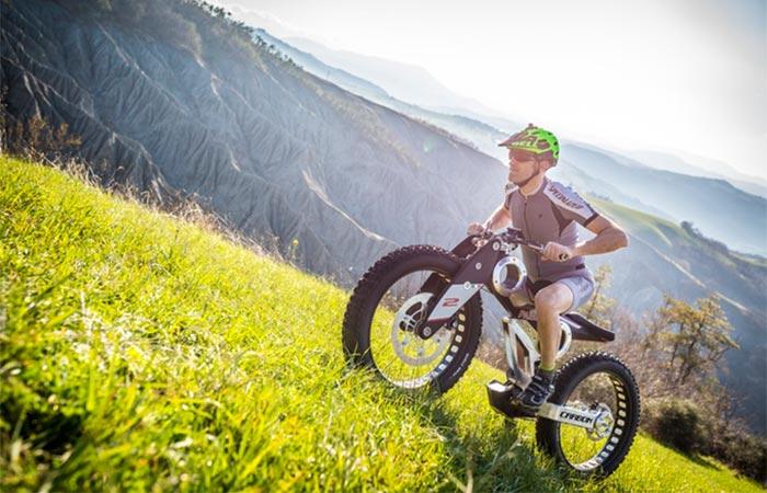 A Guy Riding Moto Parilla Carbon SUV E-bike
