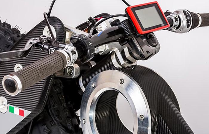The Frond And Display Of Moto Parilla Carbon SUV E-bike