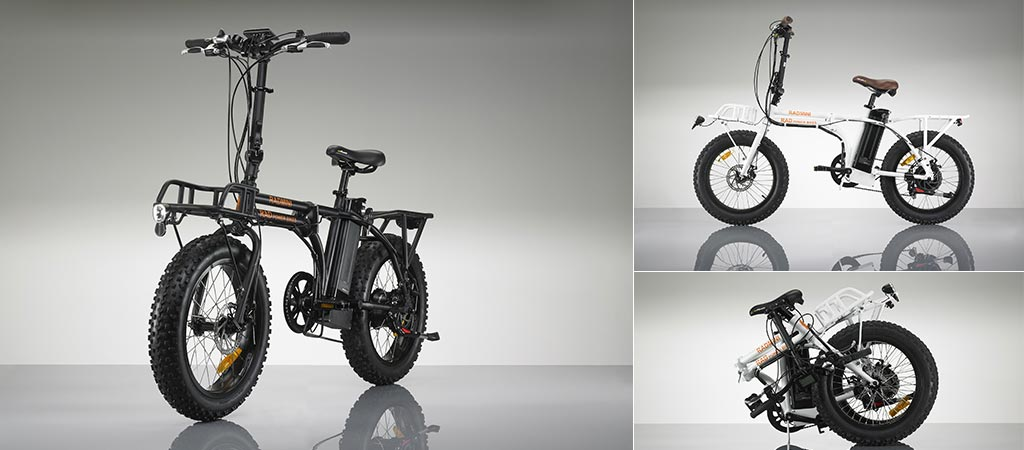 Radmini Electric Fat Bike in two different colors and in it's folded position.