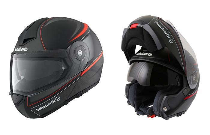 The Schubert C3 Pro Dark Classic Helmet in its open and closed positions