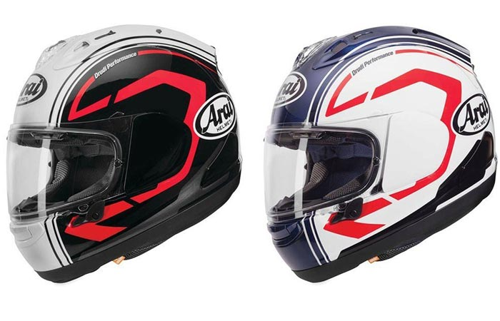 The Arai Corsair X Statement Helmet in two different colors.