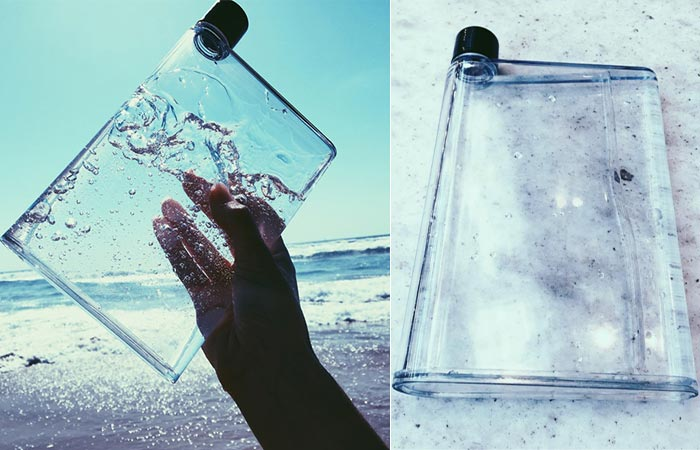 The Flat Bottle at the beach and on a grey counter