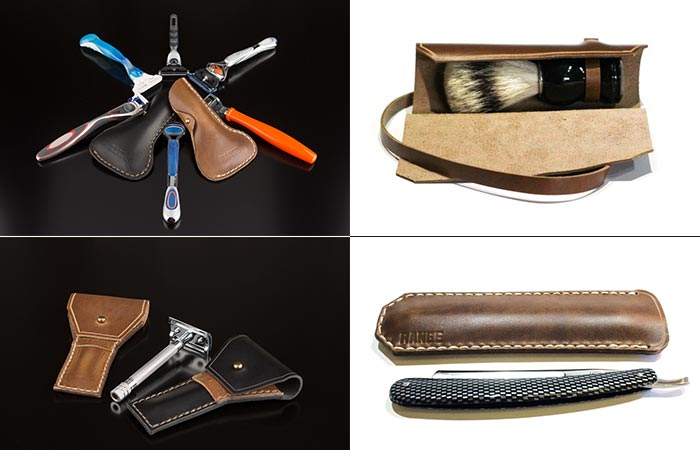 The Standard and Safety Razor cases as well as the Shave Brush Case and the Straight Razor Case.