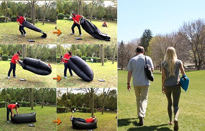 Steps on how to set up the Wasing Inflatable lounger and people carrying it.
