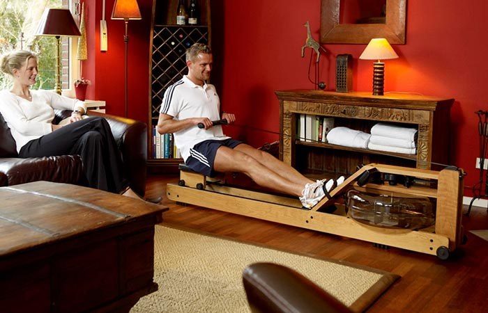 The WaterRower being used in the lounge