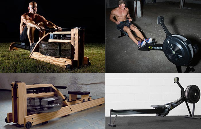 The WaterRower and the Concept 2 Model D being used by different men