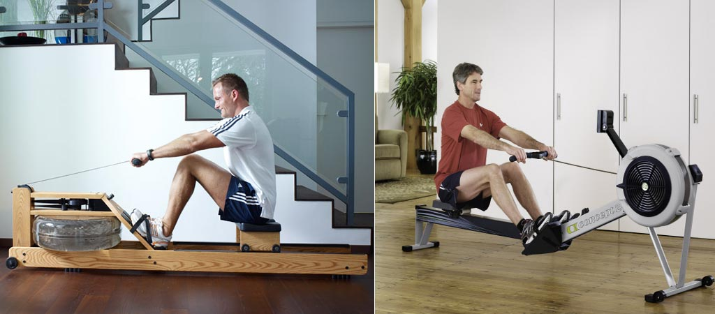 The WaterRower being used by a man and the Concept 2 Model D being used by a man