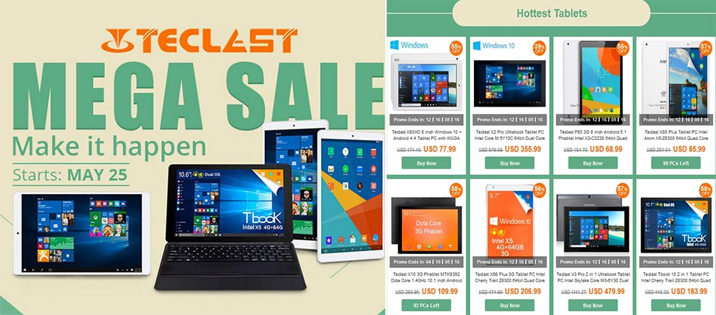 Different Teclast devices that are on sale