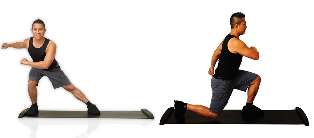 Slide board with a man doing two different exercises.
