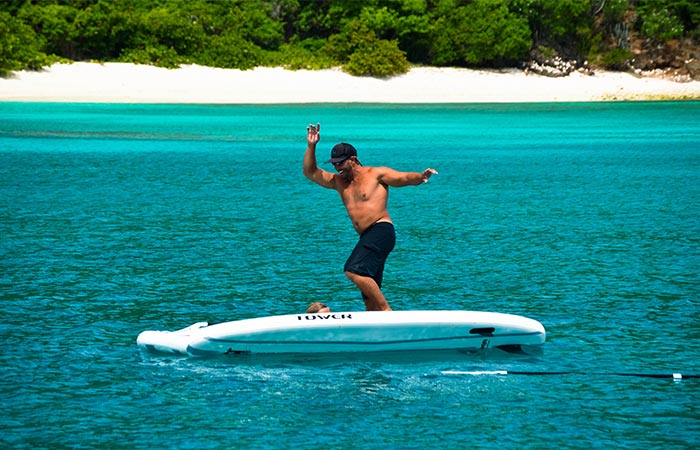 A Guy Using Adventurer Inflatable SUP