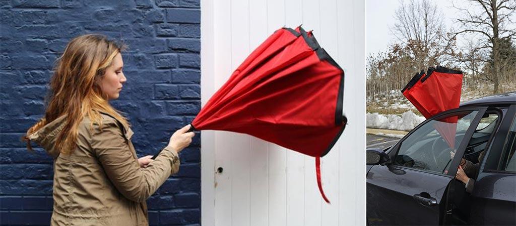 Woman folding up Anbrella and somebody closing Anbrella in the gap of a car door