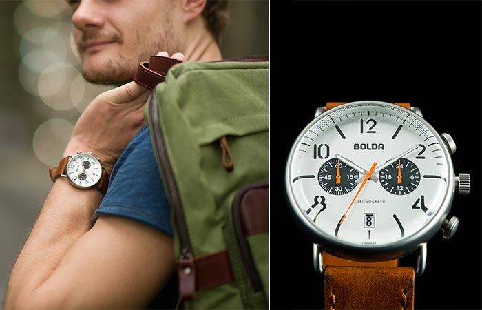 BOLDR Journey Sopwith on man's wrist and with black background