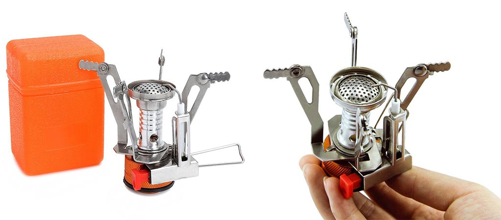 Etekcity Ultralight Portable stove next to its case and someone holding it