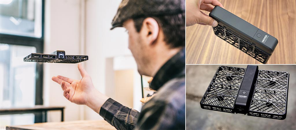 Man releasing hover camera as well as a singular photo and a shot of it folded up