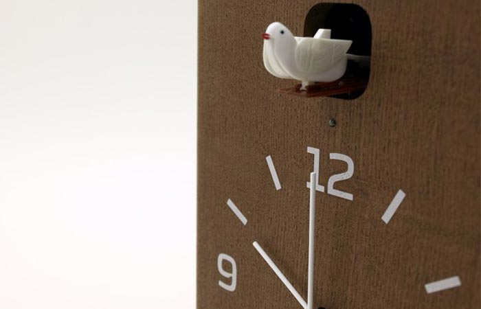Lemnos Cucu clock with the cuckoo out