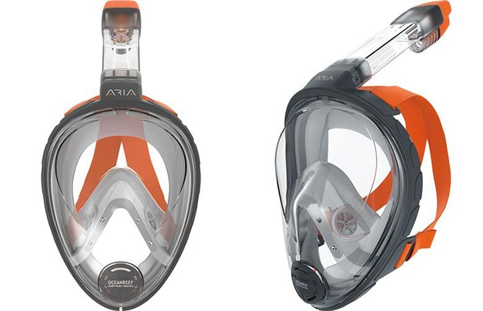 Ocean Reef Aria Full Face Snorkel Mask From The Front And Side