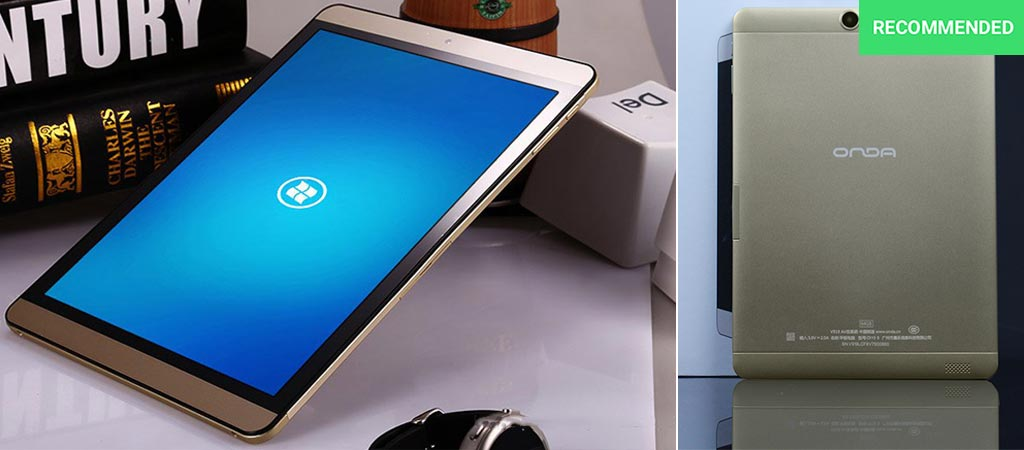Onda V919 with display on showcased on desk as well as a back view