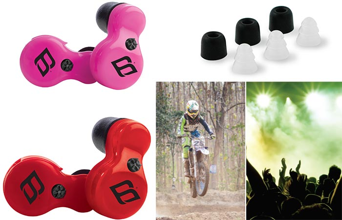 Red and Pink H2P earbuds as well as the different soft tips and pictures of a concert and a man riding a scrambler