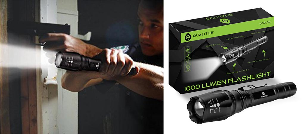 Man holding the Qualitus 1000 Lumen flashlight and pistol as well as the flashlight with its box
