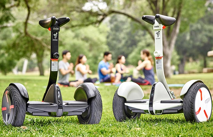 Black and white version of the Segway miniPro in a park