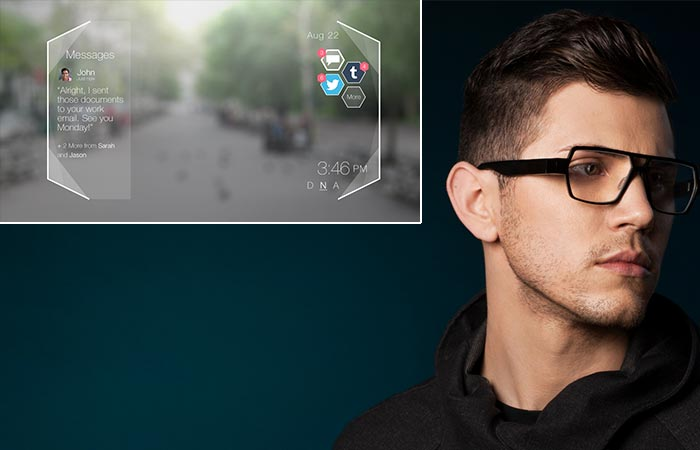 Man wearing Shima glasses and a picture of the notifications